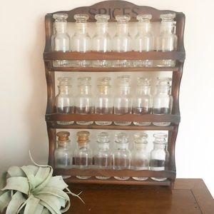 Vintage Wooden Kitchen Spice Rack With Glass Jars